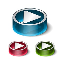 3d play play icon vector image vector image