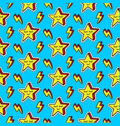 funny cartoon stars patches seamless pattern vector image