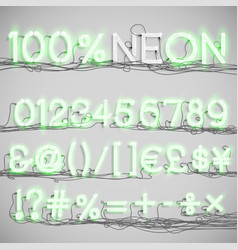 realistic neon alphabet with wires on vector image