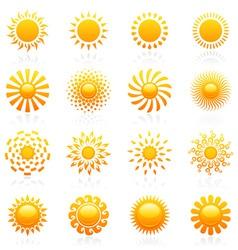 sun vector logo template set vector image vector image