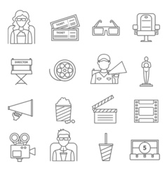 Black Line Cinema Icons Set vector image
