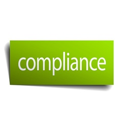 Compliance green paper sign on white background vector