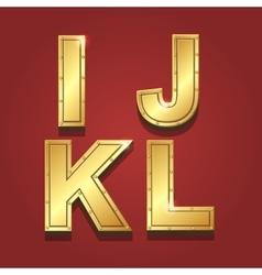 Gold letters alphabet font style I J K L vector image vector image