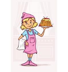 little girl cooking sweet vector image vector image