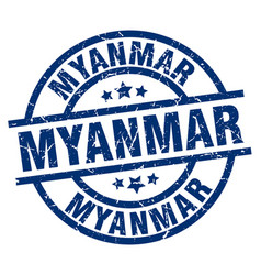 myanmar blue round grunge stamp vector image vector image
