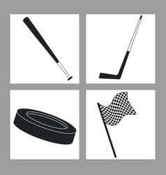 set sport equipment black and white vector image vector image