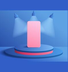 3d modern minimalist mockup smartphone on podium vector image