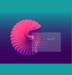 3d seashell nautilus object with smooth shape vector