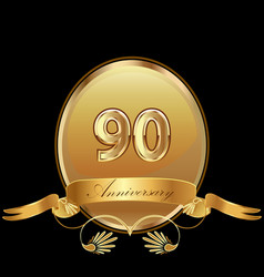 90th golden anniversary birthday seal icon vector image