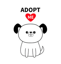 Adopt me contour sitting dog silhouette red heart vector