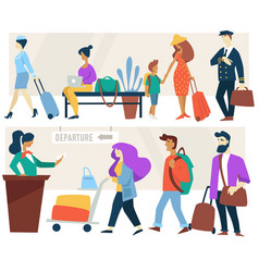 airport waiting room and check-in counter vector image