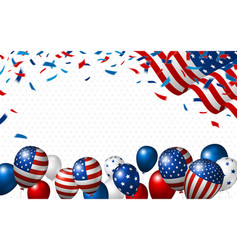 american flag and balloon with copy space vector image