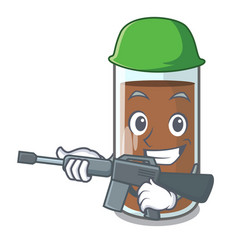 Army pouring chocolate milk from bottle cartoon vector