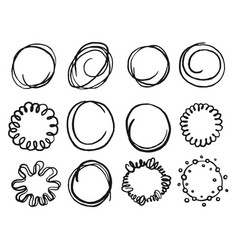 art hand drawn scribble circle shape icon set vector image