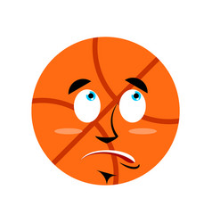 Basketball surprised emoji ball astonished vector