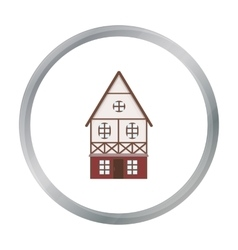 Bavarian house icon in cartoon style isolated on vector image