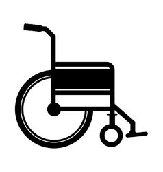 Black silhouette wheelchair flat icon vector