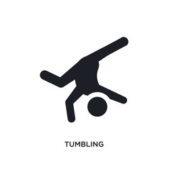 Black tumbling isolated icon simple element from vector