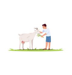 Boy feed goat semi flat rgb color vector