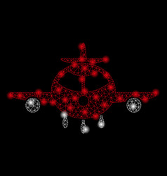 bright mesh wire frame cargo plane with flare vector image