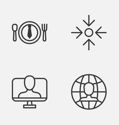 Business icons set collection of global work vector