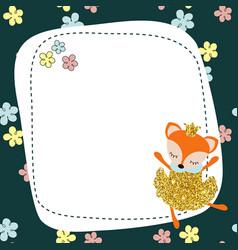 cartoon fox with dust glitters cartoon fox with vector image