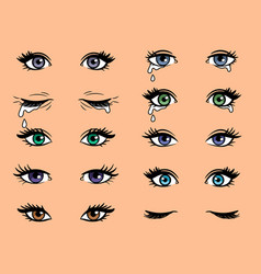 Cartoon pop art female eyes vector