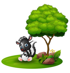 Cartoon skunk sitting under a tree on a white back vector