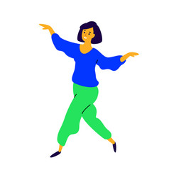 cheerful dancing girl rejoices life a vector image
