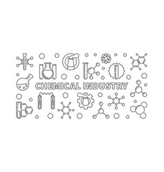 Chemical industry concept line banner vector