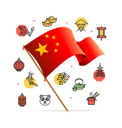 China design template line icon concept and flag vector