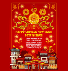 Chinese new year card with spring festival town vector