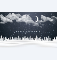 christmas night background with clouds moon and vector image