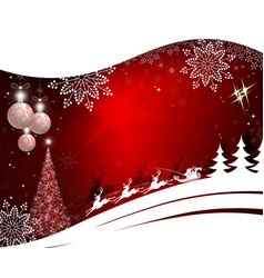 christmas red background with christmas tree vector image