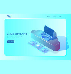 Cloud computing web page template isometric vector