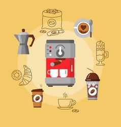 coffee equipment flat consept vector image