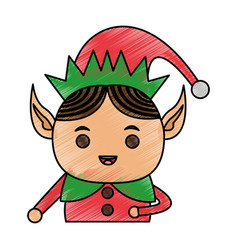 Color pencil cartoon half body christmas elf vector