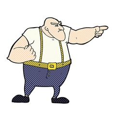 Comic cartoon angry tough guy pointing vector