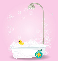 cute cartoon of bathtub full of foam on pink vector image