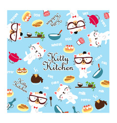 cute kitty kitchen doodle vector image