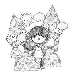 Cute little fairy with castle in landscape vector
