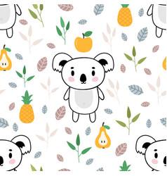 cute seamless pattern with little koala bear vector image