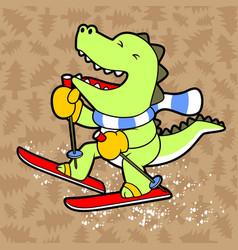 Dino play ski on tree background pattern cartoon vector