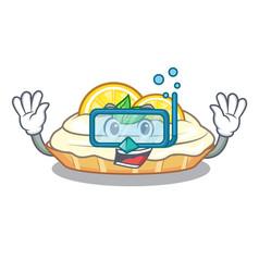 Diving cartoon lemon cake with lemon slice vector