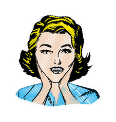 Drawing woman surprise attitude pop art vector