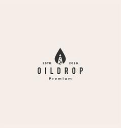 drop oil rig logo icon hipster vintage retro vector image