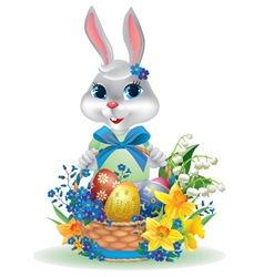 Easter bunny with basket eggs vector