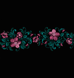 Embroidery design in baroque style seamless vector