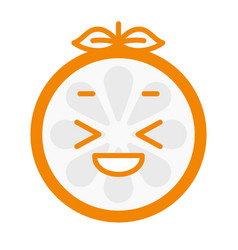 Emoji - enjoy orange with happy smile isolated vector