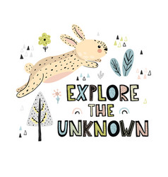 explore the unknown hand drawn lettering print vector image